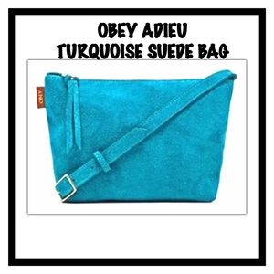 Obey Adieu Turquoise Suede Shoulder Crossbody Bag